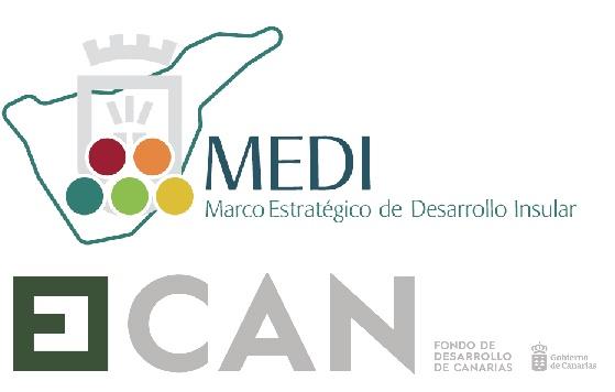 Logos del Marco Estrategico de Desarrollo Insular (Medi) y el Fondo de Desarrollo de Canarias (Fdcan)