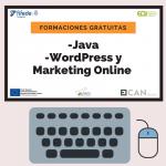 Cartel de los cursos de Java y WordPress y Marketing Online