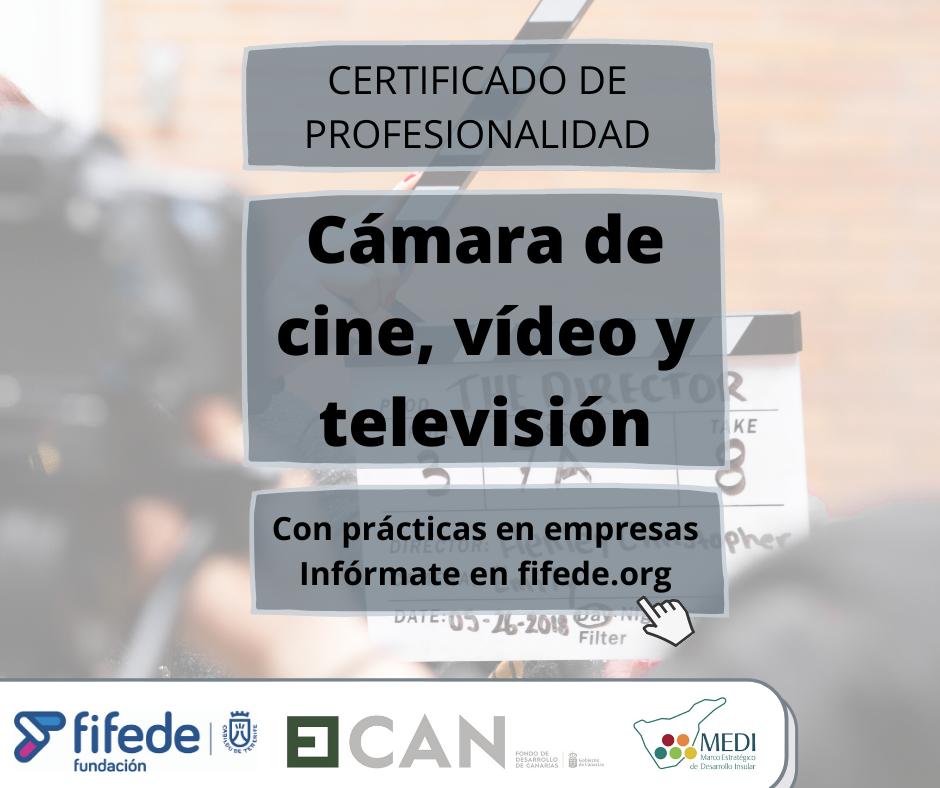 Cartel del certificado de profesionalidad de cámara de cine, vídeo y televisión
