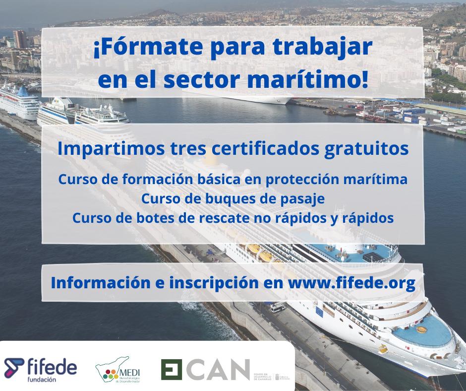 Cartel informativo de los cursos del sector marítimo