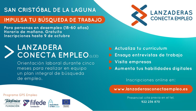 Cartel informativo de la Lanzadera Conecta Empleo de San Cristóbal de La Laguna